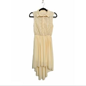 Pink Martini | Cream Lace Floral High Low Dress